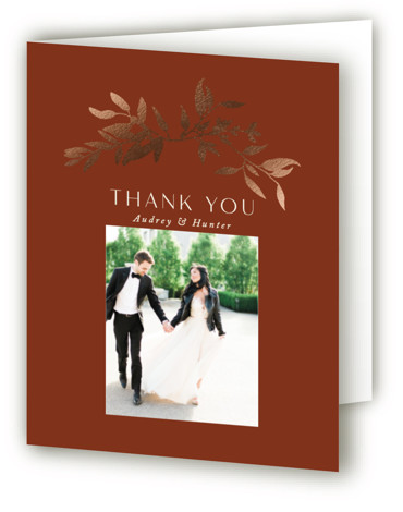 This is a brown Wedding Thank You Cards by Morgan Kendall called botanical border with Foil Pressed printing on Standard Cover in minibook fold over (blank inside) format. A modern wedding invite with hand drawn botanical leaves creating a delicate ...