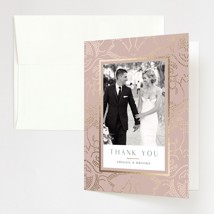 """""""Nicolette"""" - Bohemian Foil-pressed Folded Thank You Card in Peony by Susan Zinader."""