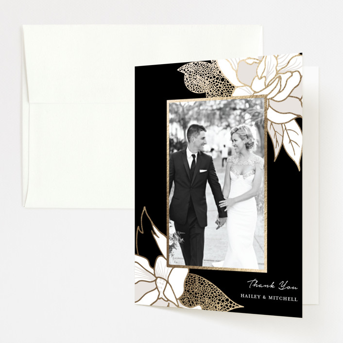 """Mod Kimono"" - Foil-pressed Thank You Cards in Ebony by Kaydi Bishop."
