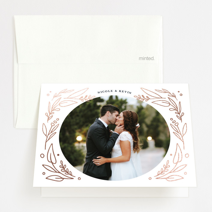"""""""Entwined"""" - Foil-pressed Thank You Cards in Navy by Kristen Smith."""