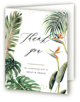 This is a green wedding thank you card by Elly called Our Paradise with foil-pressed printing on strathmore in standard.