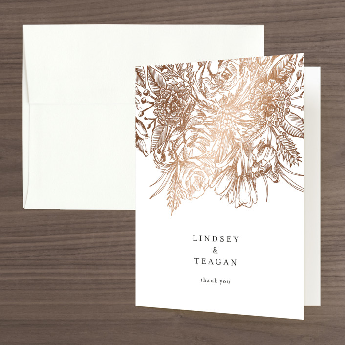 """""""Sketched Bouquet"""" - Foil-pressed Folded Thank You Card in Petal by Phrosne Ras."""