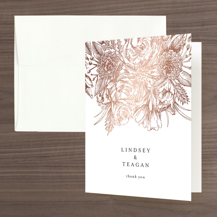 """Sketched Bouquet"" - Foil-pressed Thank You Cards in Petal by Phrosne Ras."