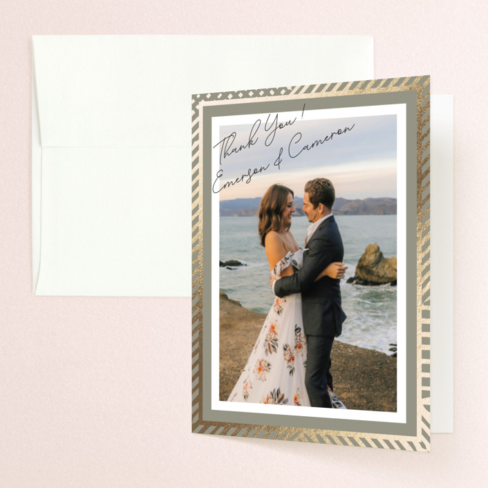 """""""Wedding Lines"""" - Bohemian Foil-pressed Folded Thank You Card in Putty by Chris Griffith."""
