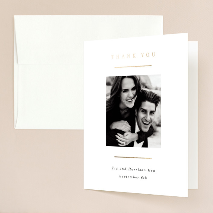"""""""Pencil Thin"""" - Foil-pressed Folded Thank You Card in Ivory by Baumbirdy."""
