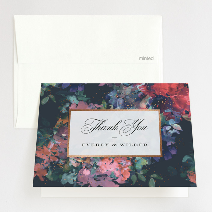 """""""Impressionist"""" - Rustic Foil-pressed Folded Thank You Card in Jewel by Lori Wemple."""