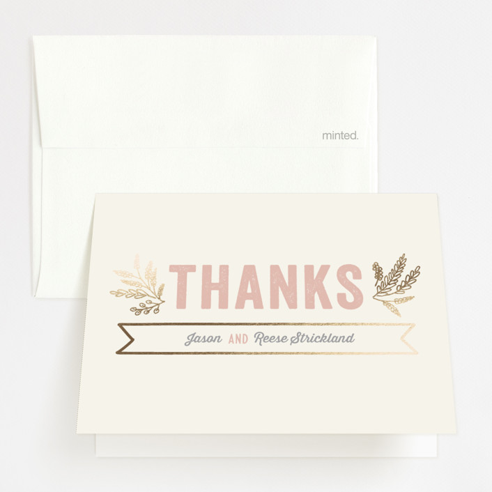 """Rustic Charm"" - Modern Foil-pressed Thank You Cards in Petal by Hooray Creative."