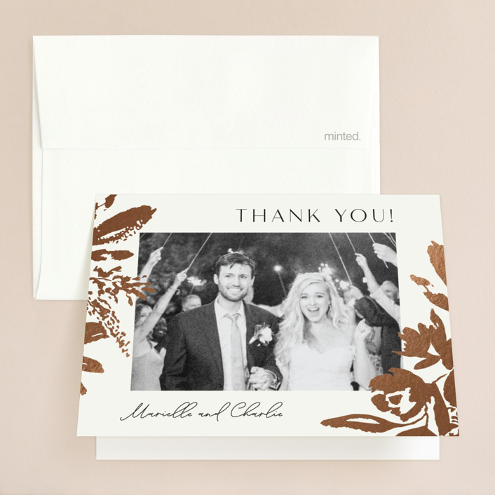 """""""Wedding veil"""" - Foil-pressed Folded Thank You Card in Goldenrod by Chris Griffith."""