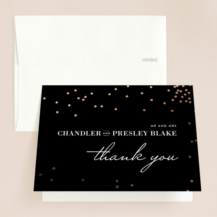 """Thrilling"" - Preppy Foil-pressed Folded Thank You Card in Gold by Design Lotus."