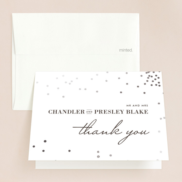"""""""Thrilling"""" - Preppy Foil-pressed Folded Thank You Card in Gold by Design Lotus."""