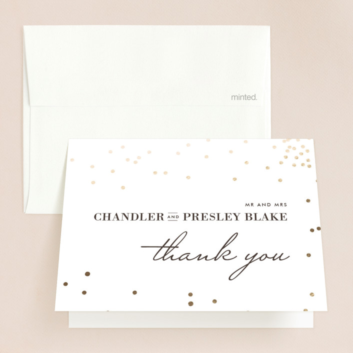 """""""Thrilling"""" - Preppy Foil-pressed Thank You Cards in Gold by Design Lotus."""