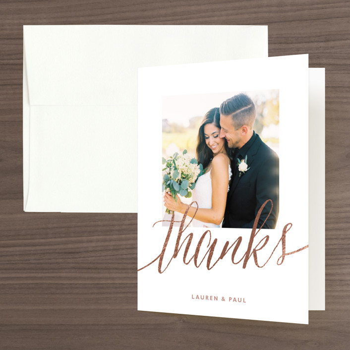 """""""A Sparkly Love"""" - Modern Foil-pressed Folded Thank You Card in Gold by Erin Deegan."""