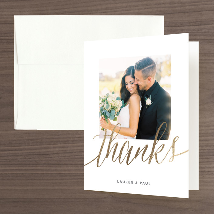 """""""A Sparkly Love"""" - Modern Foil-pressed Thank You Cards in Gold by Erin Deegan."""