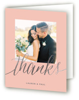 This is a pink wedding thank you card by Erin Deegan called A Sparkly Love with foil-pressed printing on strathmore in standard.