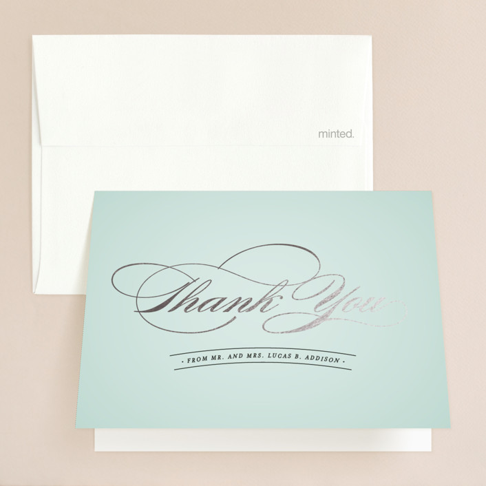 """""""Big City - Chicago"""" - Foil-pressed Thank You Cards in Mint by Hooray Creative."""
