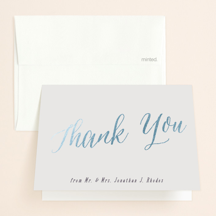 """Garden Lights"" - Rustic Foil-pressed Folded Thank You Card in Plum by Hooray Creative."