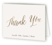 This is a brown wedding thank you card by Hooray Creative called Garden Lights with foil-pressed printing on strathmore in standard.