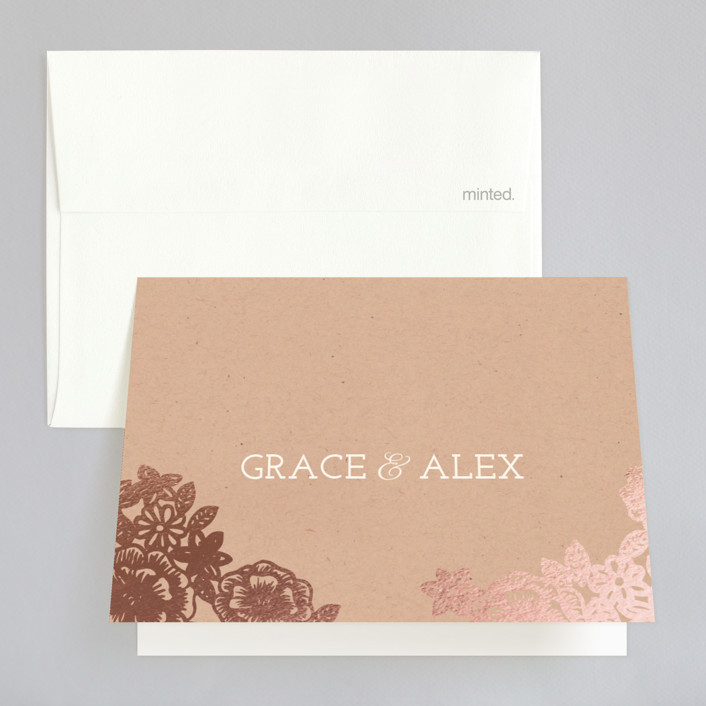 """""""Lace and Kraft"""" - Vintage, Floral & Botanical Foil-pressed Folded Thank You Card in Kraft by Katharine Watson."""