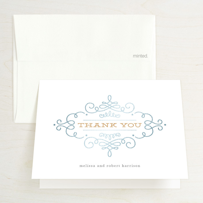 """""""Ornate Monogram"""" - Modern Foil-pressed Folded Thank You Card in Gold by Kristen Smith."""