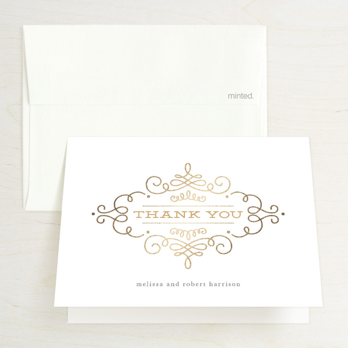 """""""Ornate Monogram"""" - Modern Foil-pressed Thank You Cards in Gold by Kristen Smith."""