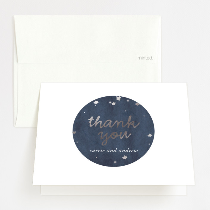 """Constellations"" - Foil-pressed Thank You Cards in Deep Blue by SimpleTe Design."