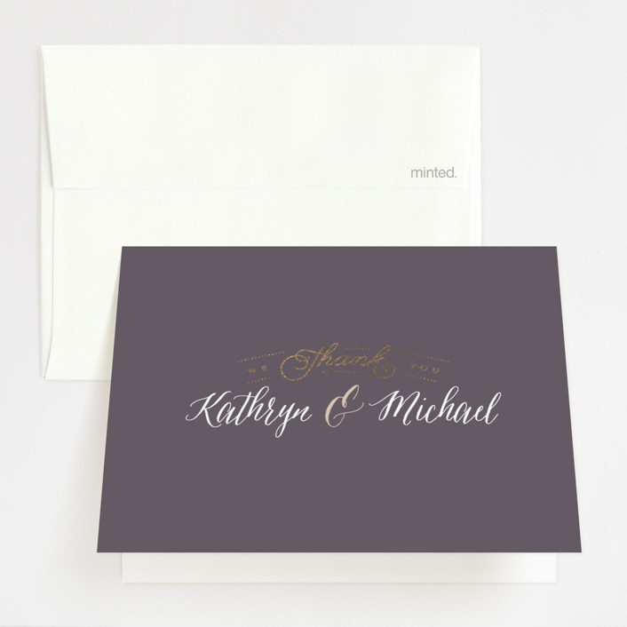 """""""Kindly Request"""" - Foil-pressed Thank You Cards in Charcoal by Lori Wemple."""