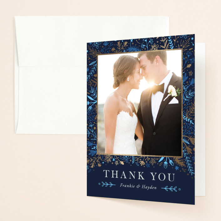 """""""Fairytale"""" - Vintage Foil-pressed Thank You Cards in Navy by Anastasia Makarova."""