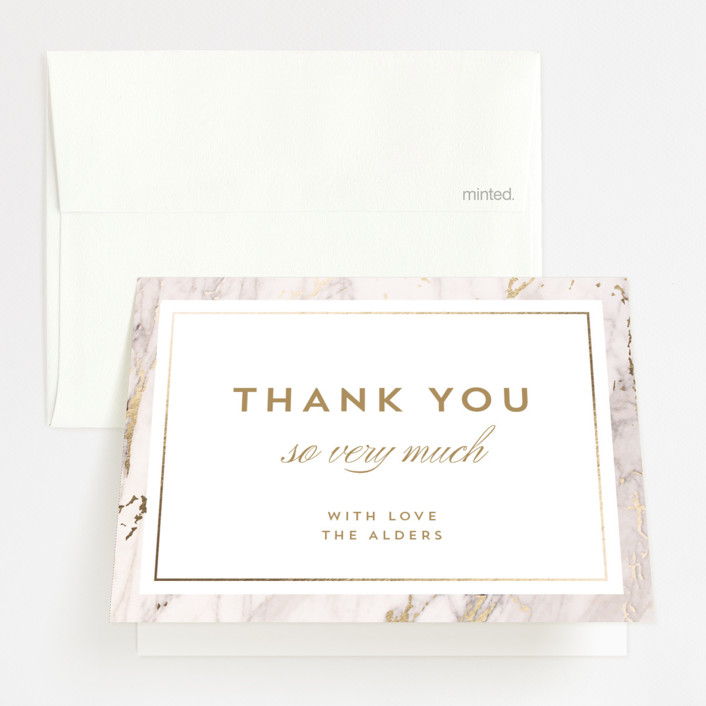 """""""Marble Matrimony"""" - Foil-pressed Thank You Cards in Mountain by AK Graphics."""