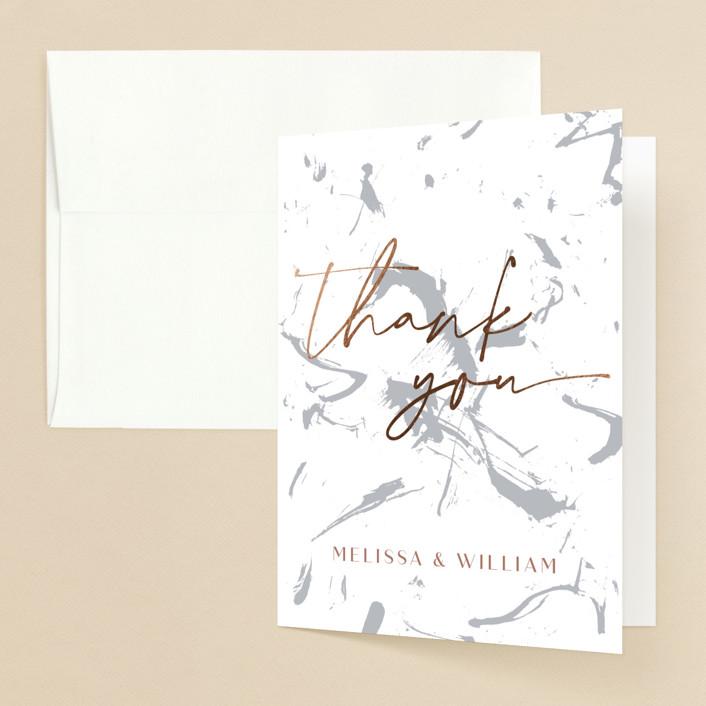 """Heartstrings"" - Modern Foil-pressed Folded Thank You Card in Slate by Erin German Design."