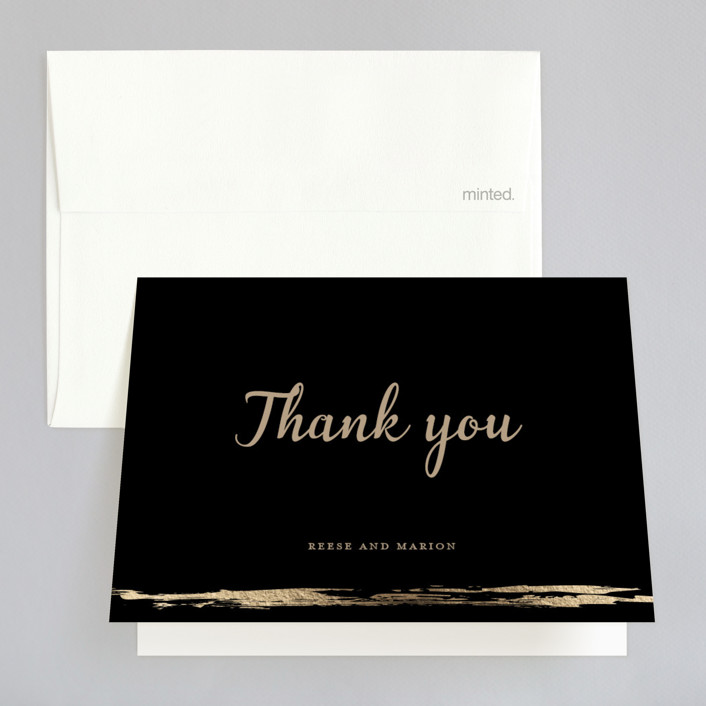 """Black-Tie In Border"" - Foil-pressed Thank You Cards in Brass by Poi Velasco."