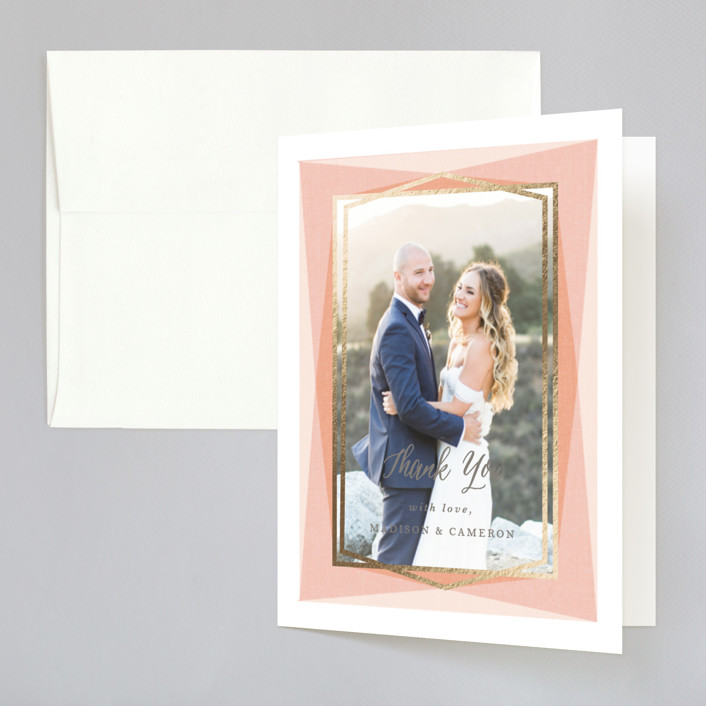 """Modern Angles"" - Modern Foil-pressed Thank You Cards in Peach by Karidy Walker."