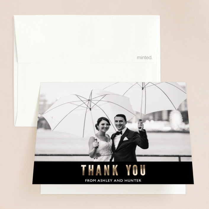 """""""Nyc City Scape"""" - Modern Foil-pressed Thank You Cards in Midnight by Mansi."""