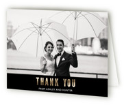 This is a black wedding thank you card by Mansi Verma called Nyc City Scape with foil-pressed printing on strathmore in standard.