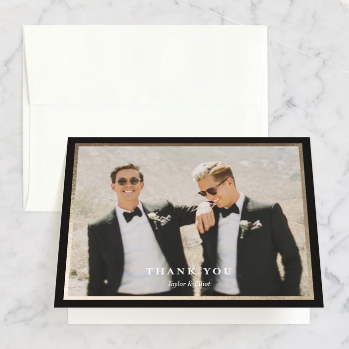 """Nyc Style"" - Foil-pressed Thank You Cards in Ebony by Jana Volfova."
