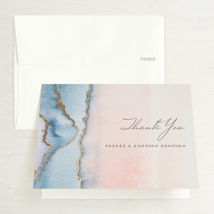 """Simple Agate"" - Rustic, Bohemian Foil-pressed Thank You Cards in Cherry Blossom by Petra Kern."