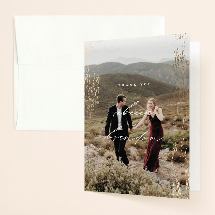 """Rustic Dream"" - Foil-pressed Folded Thank You Card in Quartz by Beth Murphy."