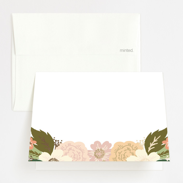 """""""Classic Floral"""" - Floral & Botanical Foil-pressed Folded Thank You Card in Spring Blush by Alethea and Ruth."""