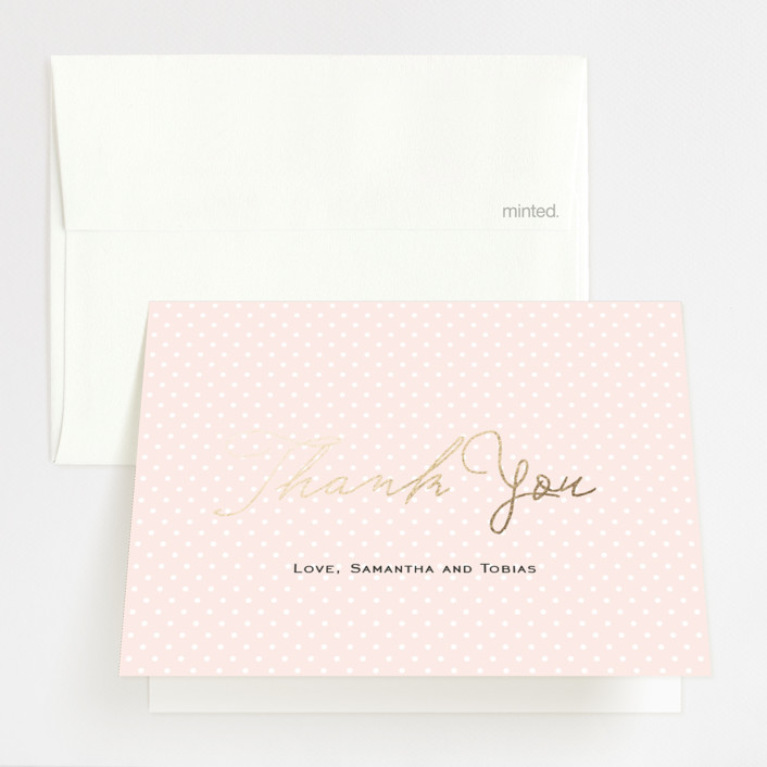 """Estate"" - Preppy Foil-pressed Thank You Cards in Blush by Kim Dietrich Elam."
