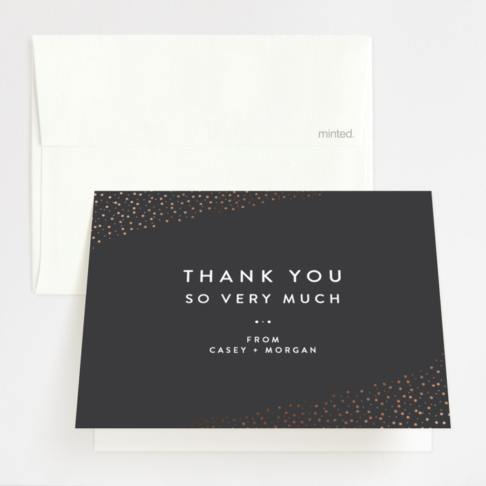 """Modern Glam"" - Foil-pressed Folded Thank You Card in Soft Black by Camille Robinson."