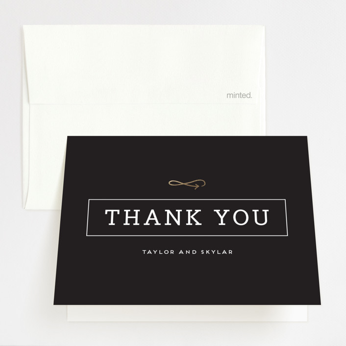 """Modern Unity"" - Foil-pressed Thank You Cards in Gold by Samantha Venator."