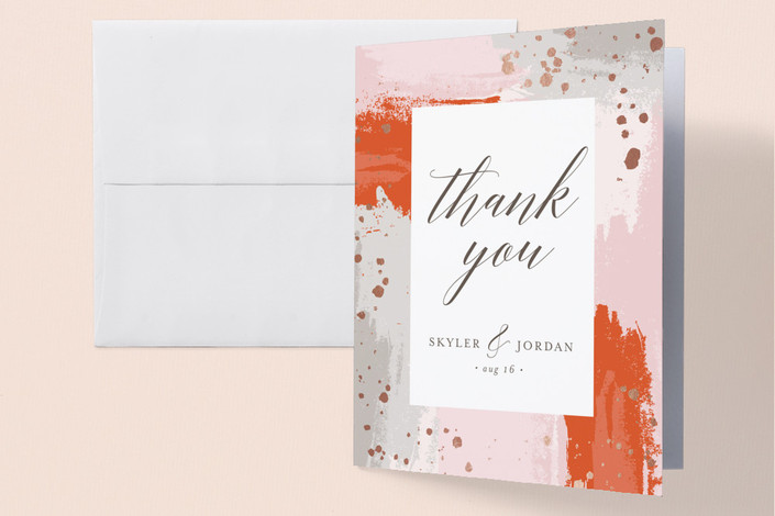 """""""The Artist's Wedding"""" - Foil-pressed Thank You Cards in Cherry by My Splendid Summer."""