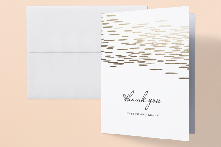 """Sahara Shimmer"" - Bohemian Foil-pressed Thank You Cards in Almond by Makewells."