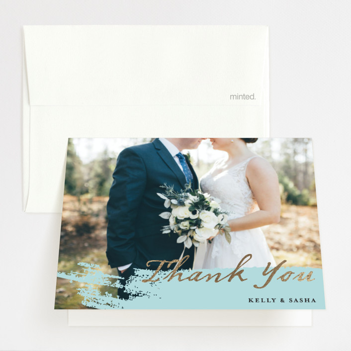 """Modern Dot"" - Modern Foil-pressed Thank You Cards in Aqua by Red Door Design."