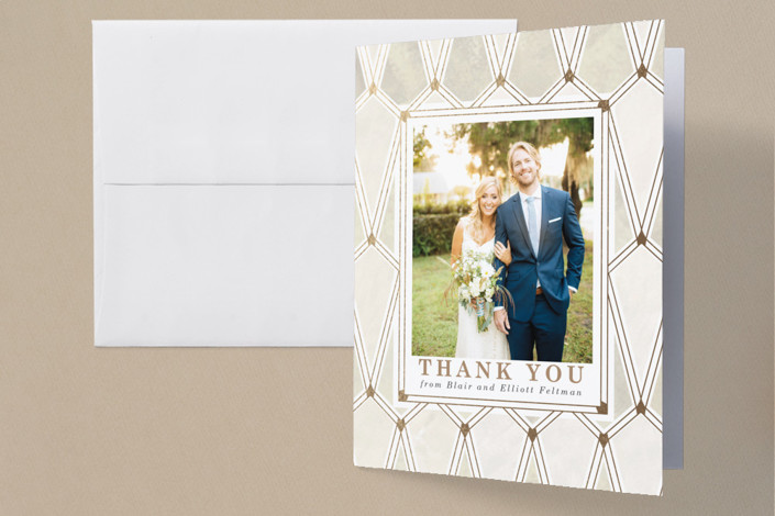 """""""Deco Opulence"""" - Foil-pressed Thank You Cards in Champagne by Rebecca Durflinger."""
