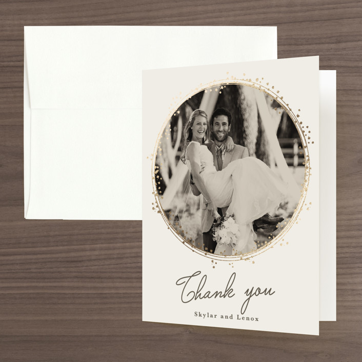 """""""Tiara"""" - Bohemian Foil-pressed Folded Thank You Card in Ivory by Tatiana Nogueiras."""