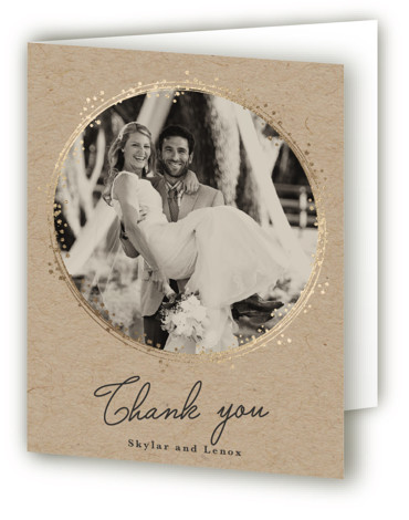 This is a brown Wedding Thank You Cards by Tatiana Nogueiras called Tiara with Foil Pressed printing on Standard Cover in minibook fold over (blank inside) format. This elegant and simple wedding invitation features a minimalistic wreath made of a ...
