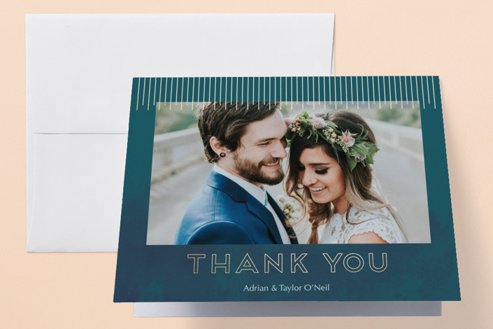 """Sunburst"" - Foil-pressed Thank You Cards in Calypso by Lorent and Leif."