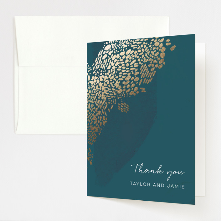 """Deep Ocean Currents"" - Foil-pressed Thank You Cards in Teal by Makewells."