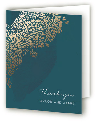 Deep Ocean Currents Foil-Pressed Thank You Cards