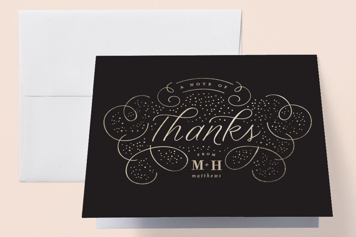 """Glitz"" - Foil-pressed Thank You Cards in Noir by Lori Wemple."